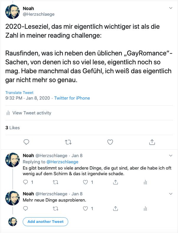 Screenshots eines Twitterthreads, in dem ich darüber schreibe, dass ich mehr darüber herausfinden möchte, welche Art von Büchern ich eigentlich gern lese.