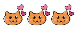 Drei gezeichnete Katzenköpfe mit zufriedenen Blick. neben jedem Kopf sind zwei rosafarbene Herzchen